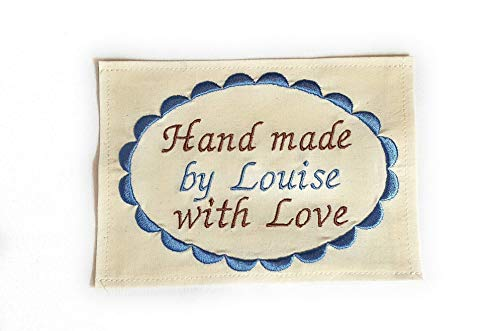 Sew On Quilt Label Personalized Fabric Label for Handmade Items 1 Large Embroidered 4x5 inch Label
