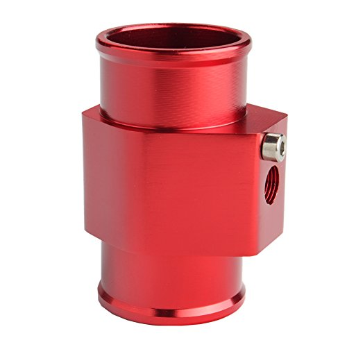 Dewhel Aluminum Red Water Temp Meter Temperature Gauge Joint Pipe Radiator Sensor Adaptor Clamps 36mm