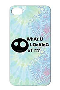 Crazy Comic Face U What Looking At Smile Funny What U Black For Iphone 4/4s Case Cover