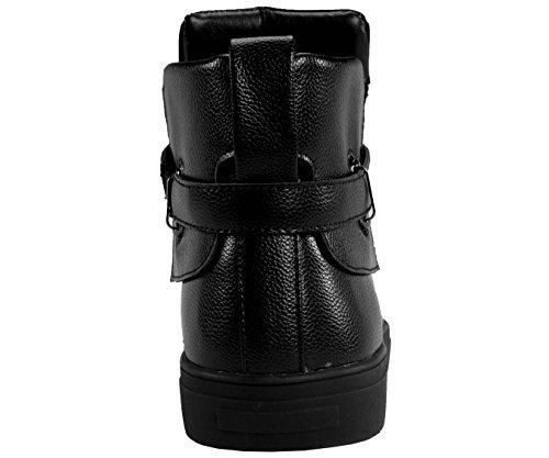 Sio Heren Metallic Kiezelkorrel Hoge Sneaker, Veterschoenen Met Strik En Riem, Stijl Jupiter Zwart