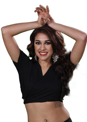 Belly Dance Cotton Short-Sleeve Choli Top | Choli Basics - Black - Medium/Large