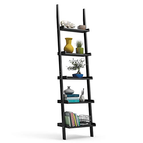 Tangkula Ladder Shelf, 5-Tier Multifunctional Modern Wood Plant Flower Book Display Shelf, Home Office Storage Rack Leaning Ladder Wall Shelf (Black, 1)