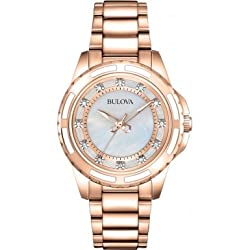 Bulova 98S141 Ladies Rose Gold Plated Bracelet Watch