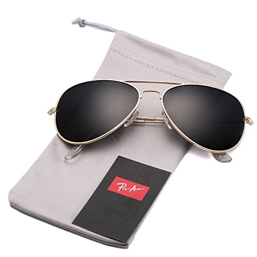 (Pro Acme Classic Polarized Aviator Sunglasses for Men and Women UV400 Protection (Gold Frame/Black)