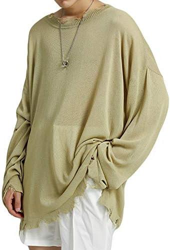 ニット セーター メンズ クルーネックニット カットソー ゆったり シルエット ドロップショルダー オシャレ おおきいサイズ ビッグTシャツ ロング丈 ストリート