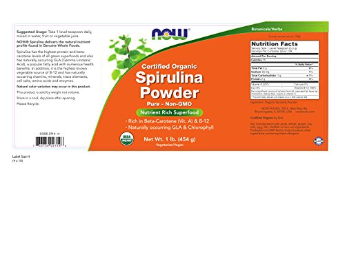 NOW Organic Spirulina Powder,1-Pound