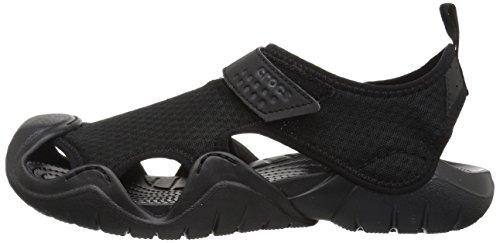 Crocs Men's Swiftwater Mesh Sandal Flat Black, 12 M US