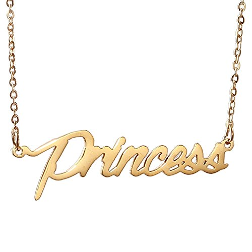 HUAN XUN Gold Color Plated Stainless Steel Name Necklace Best Gift for Daughter and Girlfriend, Princess