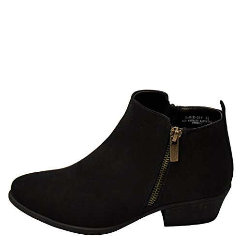 - Bamboo Sadie 21V Women's Casual Chunky Heel Zipper Booties (07.5, Black FS)