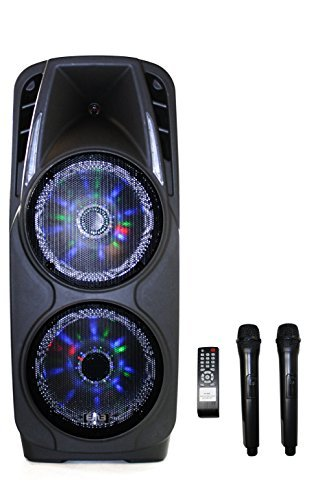 EMB PKL5000 1800W 2x10'' PA Rechargeable Speaker System Built-in Bluetooth/SD/MMC/USB/Guitar Jack by EMB