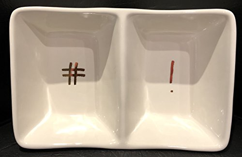 "Rae Dunn Artisan Collection By Magenta Divided Tray 8"" X 5"" X 3"" Deep HASHTAG & EXCLAMATION POINT Dishwasher Safe (Dish Tag Divided)"