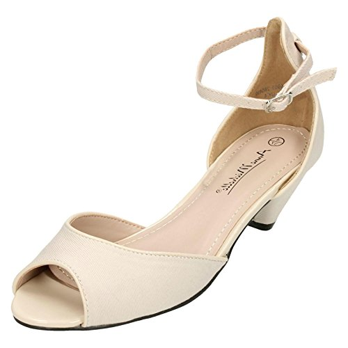 Anne Michelle Ladies Peep Toe Sandals Stone (Beige) heSfDogj0W