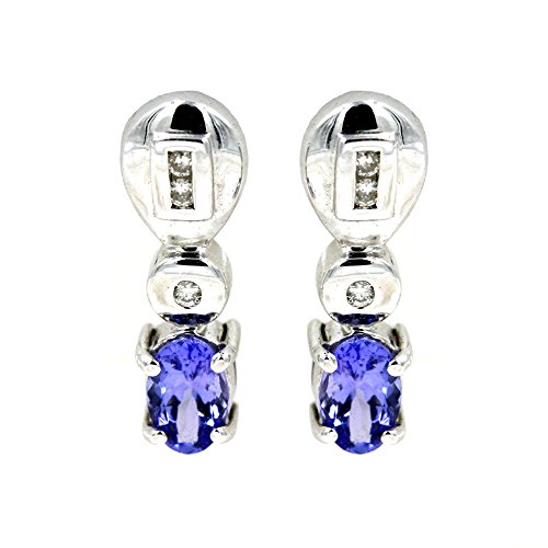 Oval Shape 7/8 ct. Tanzanite and 1/10 ct. Diamond Fashion Earrings in 14K White Gold ()