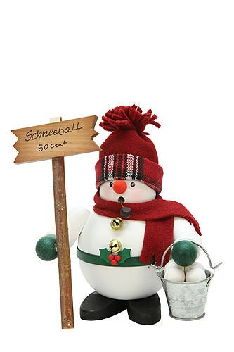 German Incense Smokers Snowman with Snowballs - 17cm / 7 inch - Christian Ulbricht by Authentic German Erzgebirge Handcraft
