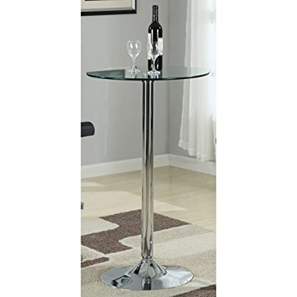 Coaster Contemporary Round Bar Table With Chrome Base