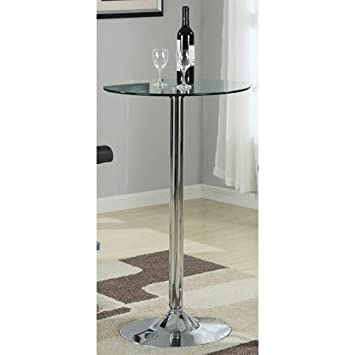 Wonderful Coaster Bar Table With Glass Top In Polished Chrome Finish