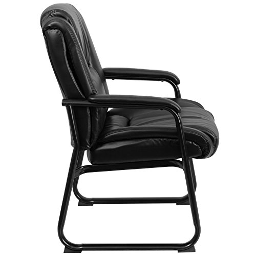 Flash Furniture HERCULES Series Big & Tall 500 lb. Rated Black Leather Executive Side Reception Chair with Sled Base by Flash Furniture (Image #1)