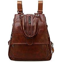 Leather Backpack Purse for Women,Waterproof Vintage Fashion Rucksack,Lightweight PU Shoulder Bag Handbags