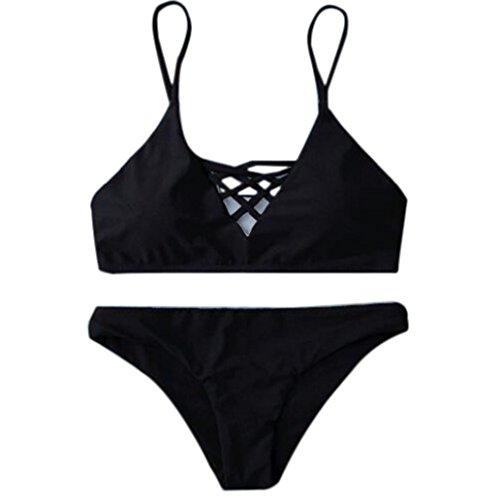 Rawdah Traje de baño Mujeres Triángulo Bikini Conjunto Vendaje Push-Up Traje de baño Bañarse Beachwear Negro