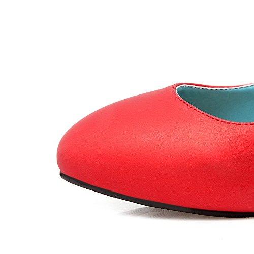AgooLar Damen Quadratisch Zehe Mittler Absatz Rein Schnalle Pumps Schuhe Rot