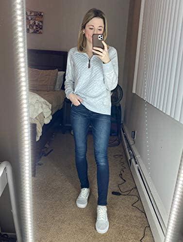 BTFBM Women Fashion Quilted Pattern Lightweight Zipper Long Sleeve Plain Casual Ladies Sweatshirts Pullovers Shirts Tops