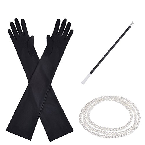 BESTOYARD 1920s Costume Accessories Set Flapper Costume Dress Headband Pearl Beads Necklace Black Gloves Cigarette Holder (Fabulous Flapper Costume)