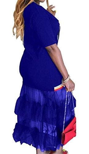 Bodycon Di through Maglia Di Stampa Reale Abito Partito Blu Balza Lungo Womens See Domple qI0Rzz
