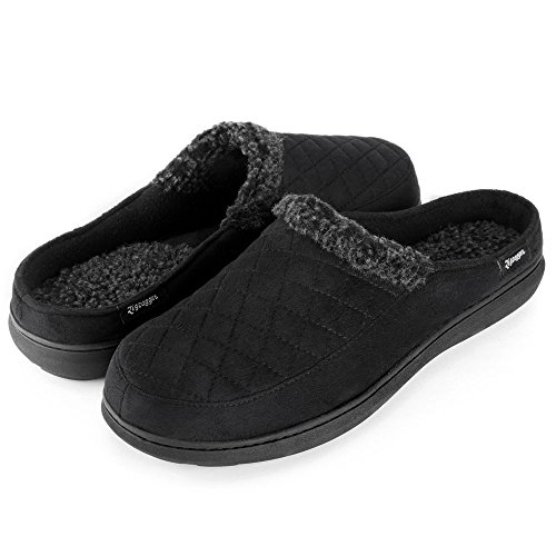 Zigzagger Mens Suede Fabric Memory Foam Slippers Fleece Lined Slip On Clog House Shoes Indoor/Outdoor,Black,11-12 D(M) US