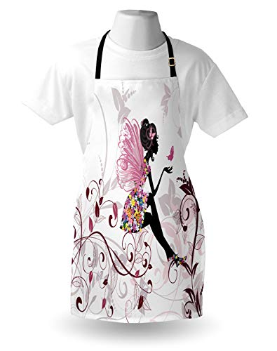 Ambesonne Princess Apron Flower Fairy With Butterflies Wings Branches Ornaments Floral Spring Forest Unisex Kitchen Bib Apron With Adjustable Neck For Cooking Baking Gardening Maroon Black Pink