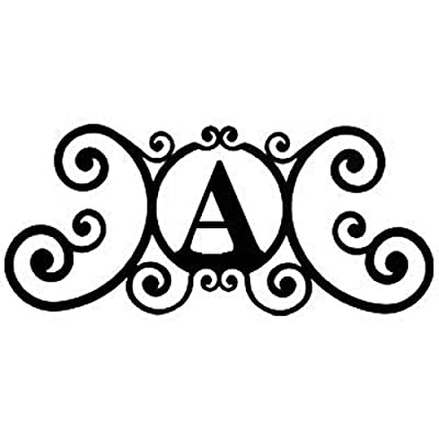 24 Inch House Plaque Letter - Wrought Iron Metal Scrolled Monogram Initial Letter Home Door Wall Hanging Art Decor Family Name Last Name Letter Sign