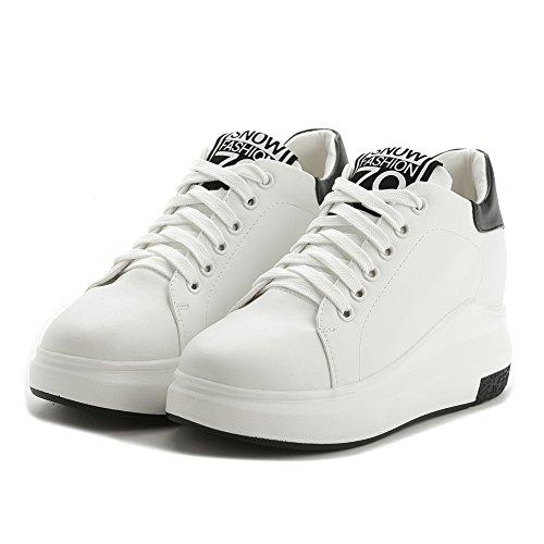 Giy Damesmode Lage Top Veter Wedge Sneakers Platform Verhoogde Hoogte Casual Sportschoenen Wit