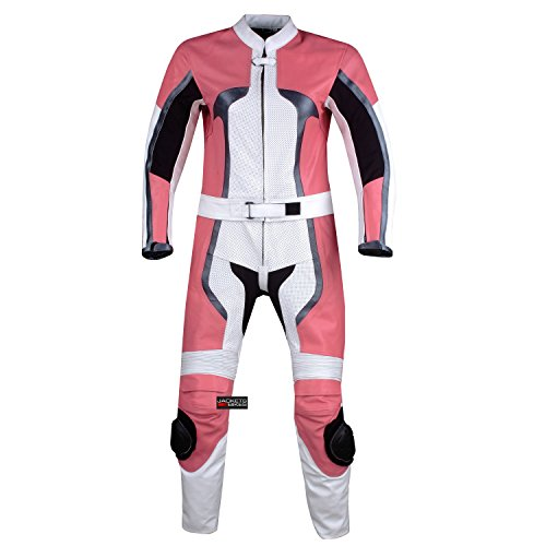 WOMENS 2PC MOTORCYCLE LEATHER RACING SUIT ARMOR PINK L