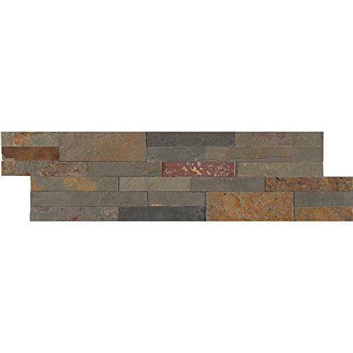 Vogue Peel & Stick Gold Rush Slate Brick Stone 21.75'' X 6'', Wall Tile, Fireplace Tile, Backsplash Tile, Bathroom Tile, Easy DIY Tile (Box of 15pcs ) by Vogue Tile