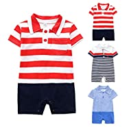 NUWFOR Infant Baby Boys Girls Short Sleeve Striped Print Jumpsuit Romper Clothes White