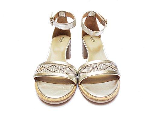 Nero Giardini 5831 Sandalen Damen aus Leder Far. Platin Absatz cm. 5,NUM.38