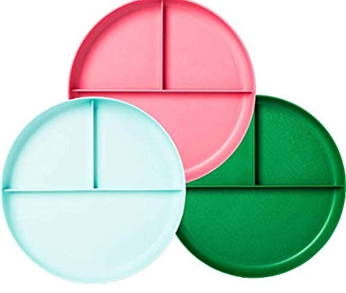 Little Kid's Round Plastic Divided Toddler Plates - 3 Pack - Dishwasher and Microwave Safe - BPAFree - for Baby or Older Kids (Light Blue, Pink and Green) ()