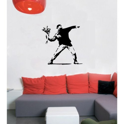 Banksy large vinyl wall decal molotov guy flower bomb by matters of the cart