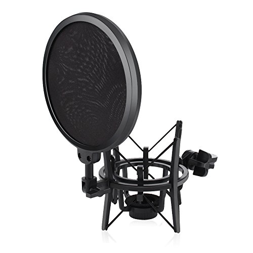ARCHEER Microphone Shock Mount with Pop Filter, Mic Shock