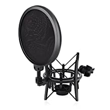 Microphone Shock Mount,ARCHEER Microphone Holder with Pop Filter Windscreen Shield for Studio Radio Broadcasting and Recording, Anti Vibration Suspension Metal Mic Mount, Black