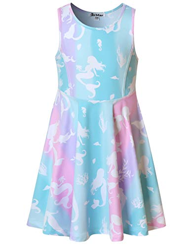 Sleeveless Mermaid Dresses for Little Girls Kids Summer Hawaiian Beach Clothes -