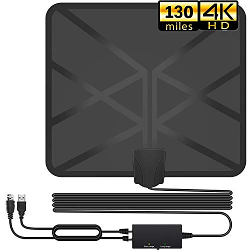 HDTV Antenna, Indoor Amplified Digital TV Antennas 130+ Miles Range Adjustable Amplifier Signal Booster for 4K HD 1080P VHF UHF Freeview Local Channels-16.5ft Coax Cable Support All TV's (Black) (Best Indoor Hd Antenna 2019)
