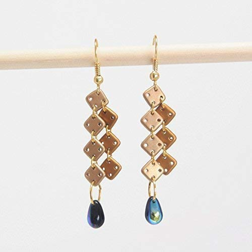 - Square & Tear Drop Earring - Gold-Cream Square Glass Beads, Jet-Blue 2 Tone Tear Drop Beads, 1.75-inch