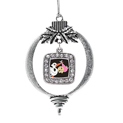 Inspired Silver - Stork Brings A Girl Charm Ornament - Silver Square Charm Holiday Ornaments with Cubic Zirconia Jewelry