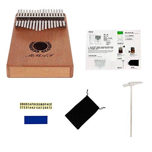 Dilwe Thumb Piano, 17 Key Mahogany Wood Kalimba Mbira Pocket Thumb Piano Solid Finger Piano by Dilwe