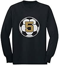 Tstars - 5 Year old Fifth Birthday Gift Soccer Toddler/Kids Long sleeve T-Shirt