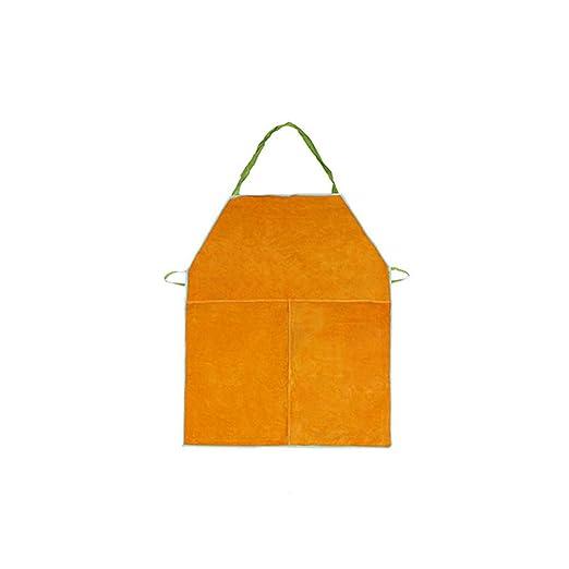 ZPL Delantal de Soldadura Piel de Cuero de Vaca Gran Babero Delantal Calentador de Trabajo Resistente al Fuego, 70 * 90 cm / 27.5 * 35.4,Yellow: Amazon.es: ...