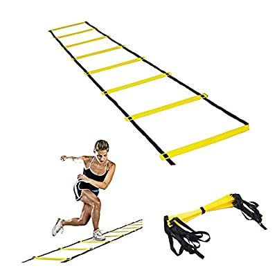 OWIKAR Agility Ladders Speed & Agility Training Rope Ladder Exercise Flat Rungs Football Ladder Sports Footworks Drills Improve Strength and Physical Dexterity