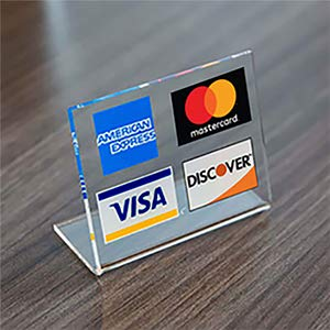 Visa/MasterCard/American Express Acrylic Counter Sign (Stores That Accept American Express Credit Cards)