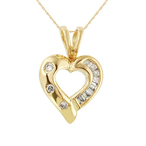 0.1 Carat Natural Diamond 14K Yellow Gold Heart Pendant Necklace for (0.1 Ct Diamond Bezel)