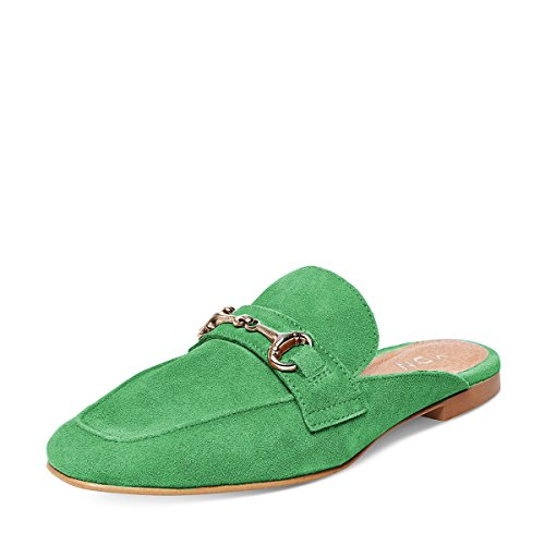 YDN Women Casual Backless Mules Loafer Slippers Closed Square Toe Slip On Flat Slide Shoes Lime Green 9